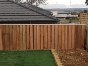Wooden 'lapped and capped' fence.